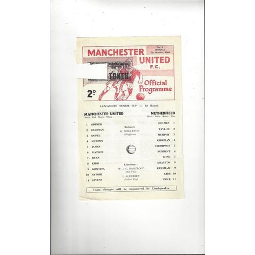 Manchester United v Netherfield Lancashire Senior Cup Football Programme 1968/69
