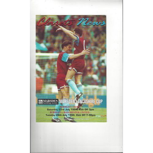 Burnley v Bury & Manchester United Lancashire Senior Cup Double Football Programme 1994/95