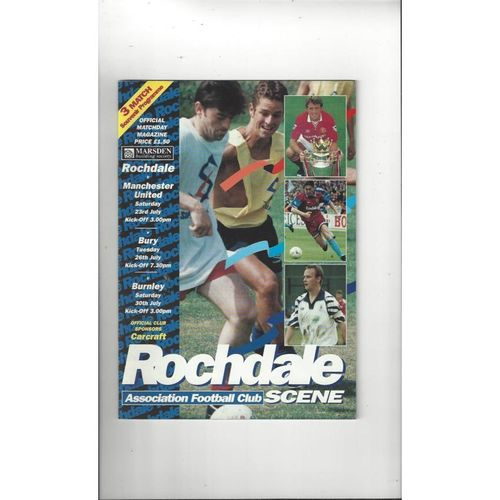 Rochdale v Manchester United, Bury & Burnley Lancashire Senior Cup Triple Football Programme 1994/95