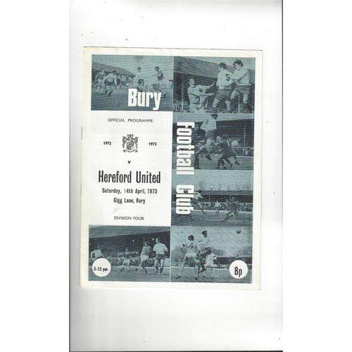 1972/73 Bury v Hereford United Football Programme