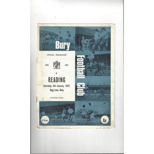 1972/73 Bury v Reading Football Programme