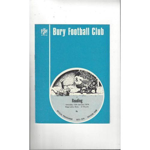 1973/74 Bury v Reading Football Programme