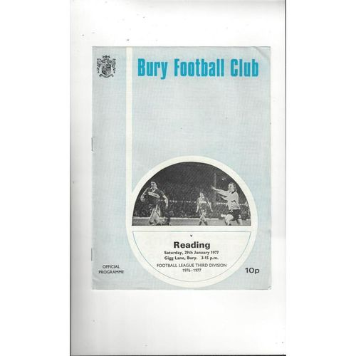 1976/77 Bury v Reading Football Programme