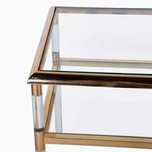 1970s Lucite, gilded metal and glass console table