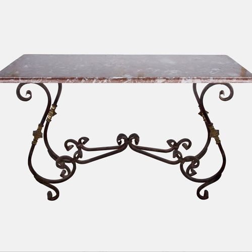 Pink marble wrought iron and gilt Patisserie console table