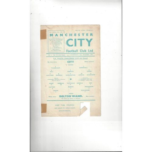 Manchester City v Bolton Wanderers FA Youth Cup Football Programme 1959/60