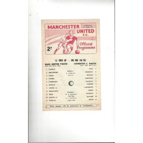 1969/70 Manchester United v Coventry Youth Cup Semi Final Football Programme