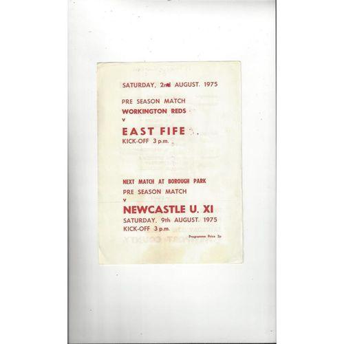 1975/76 Workington v East Fife Friendly Football Programme