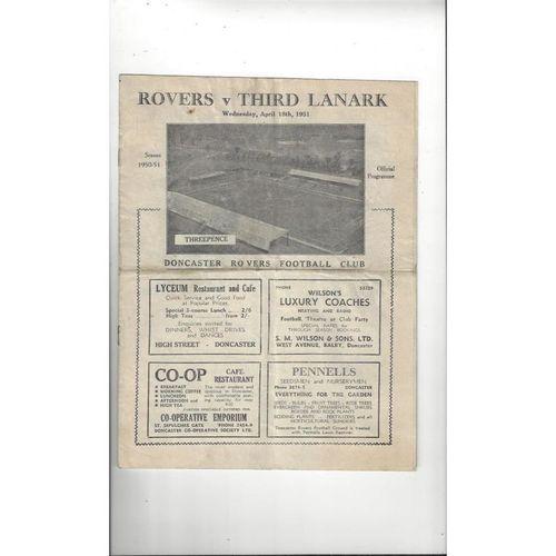 Doncaster Rovers v Third Lanark Friendly Football Programme 1950/51