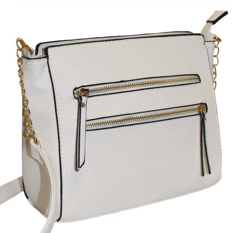 134 White – Multi Zip Front pockets Handbag