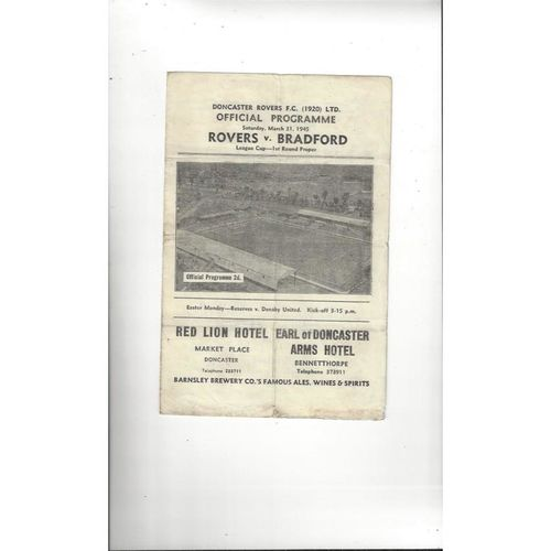 1944/45 Doncaster Rovers v Bradford Park Avenue War Cup Football Programme