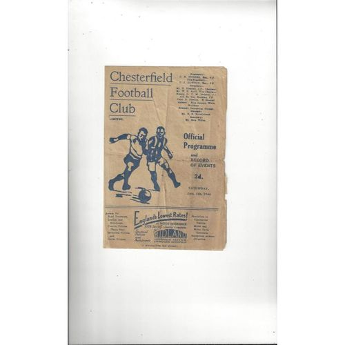 1945/46 Chesterfield v York City Football Programme