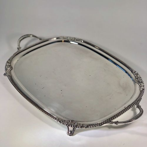 Pretty Victorian silver plated drinks tray