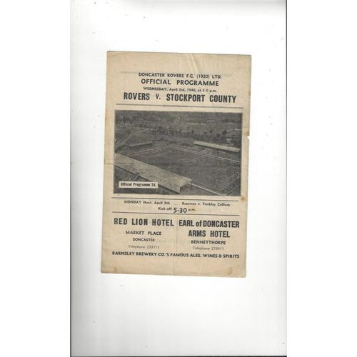 1945/46 Doncaster Rovers v Stockport County War Cup Football Programme