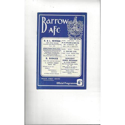 1966/67 Barrow v Aldershot Football Programme