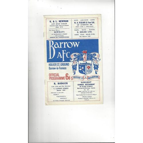 1967/68 Barrow v Oxford United Football Programme