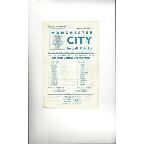 Manchester City v Oldham Athletic FA Youth Cup Football Programme 1967/68