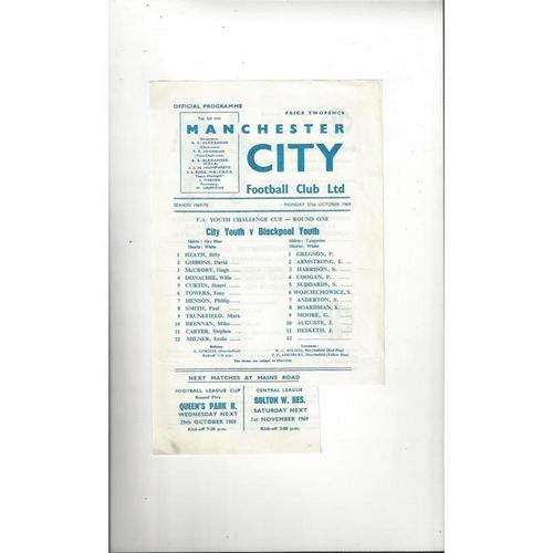 Manchester City v Blackpool FA Youth Cup Football Programme 1969/70