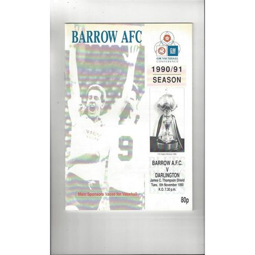 1990/91 Barrow v Darlington J C Thompson Shield Football Programme