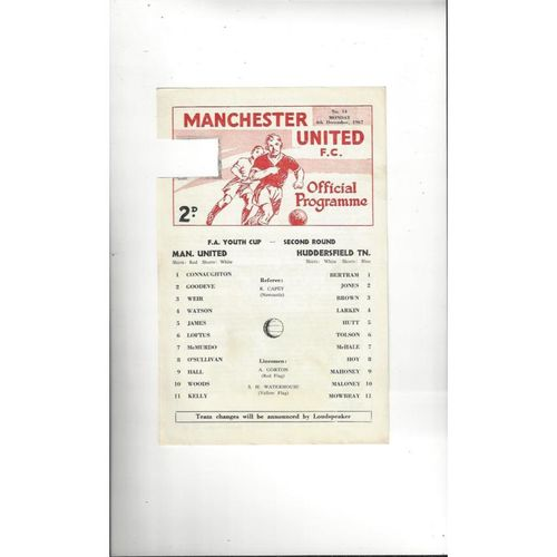 Manchester United v Huddersfield Town FA Youth Cup Football Programme 1967/68