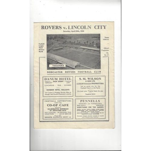 1949/50 Doncaster Rovers v Lincoln City Football Programme