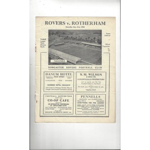 1949/50 Doncaster Rovers v Rotherham United Football Programme