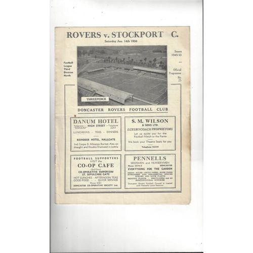 1949/50 Doncaster Rovers v Stockport County Football Programme
