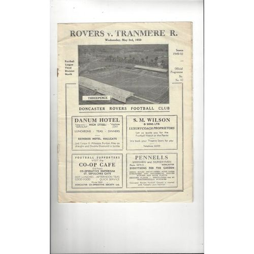 1949/50 Doncaster Rovers v Tranmere Rovers Football Programme