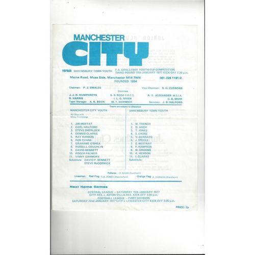 Manchester City v Shrewsbury Town FA Youth Cup Football Programme 1976/77