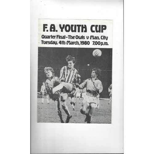 Sheffield Wednesday v Manchester City FA Youth Cup Football Programme 1979/80