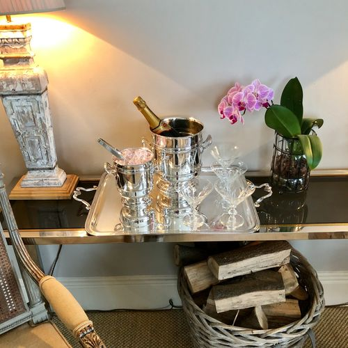 Christofle silver plated ice bucket and matching wine cooler
