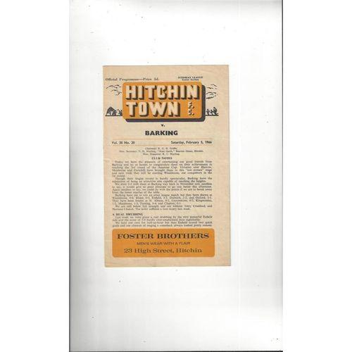 Hitchin Town v Barking Football Programme 1965/66