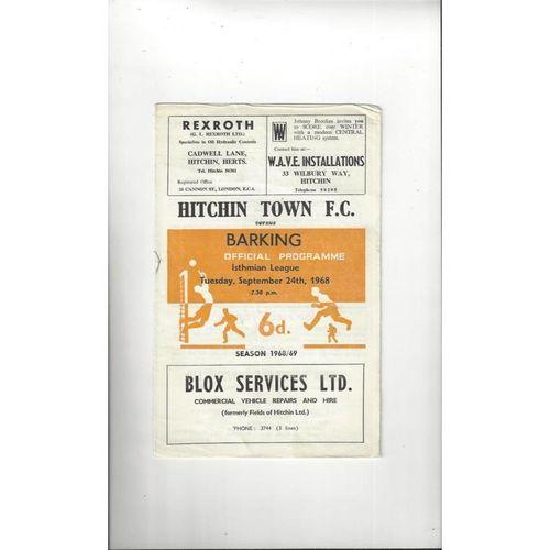 1968/69 Hitchin Town v Barking Football Programme