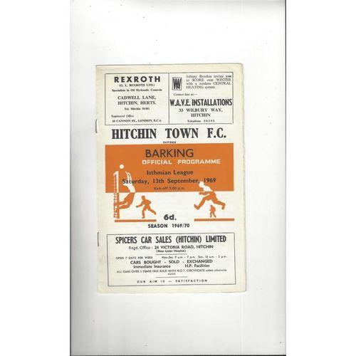 Hitchin Town v Barking Football Programme 1969/70