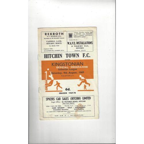 Hitchin Town v Kingstonian Football Programme 1969/70