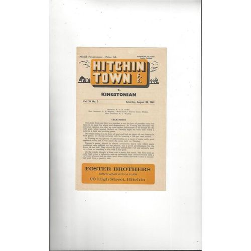 Hitchin Town v Kingstonian Football Programme 1965/66