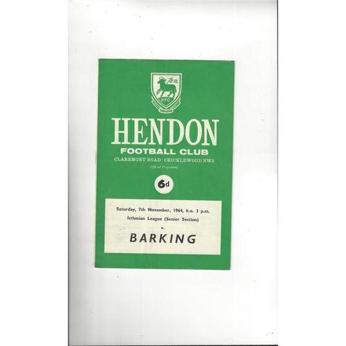 1964/65 Hendon v Barking Football Programme