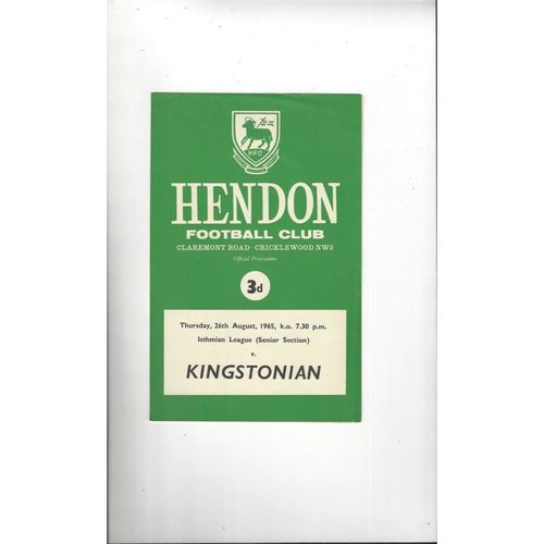 1965/66 Hendon v Kingstonian Football Programme