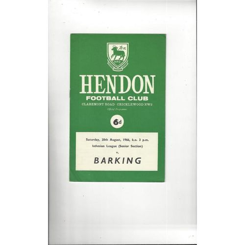 1966/67 Hendon v Barking Football Programme