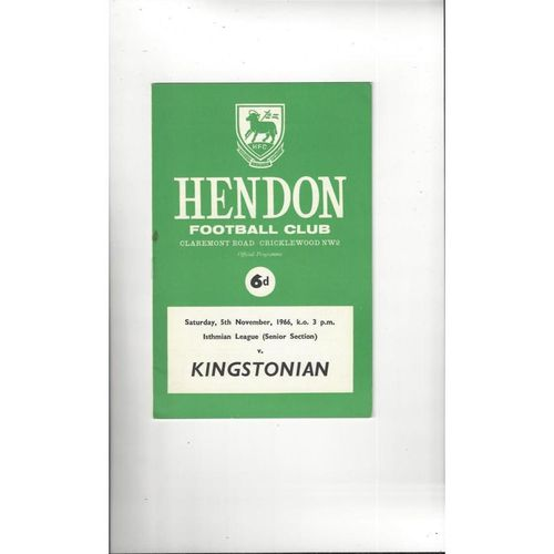 1966/67 Hendon v Kingstonian Football Programme