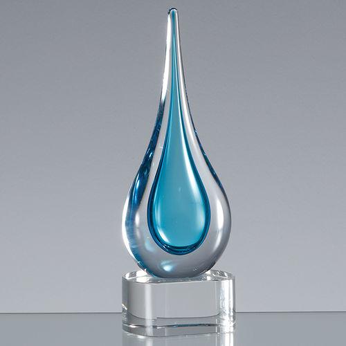 18cm Handmade Crystal Turqoise Blue Teardrop Award