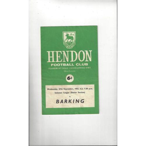 1967/68 Hendon v Barking Football Programme