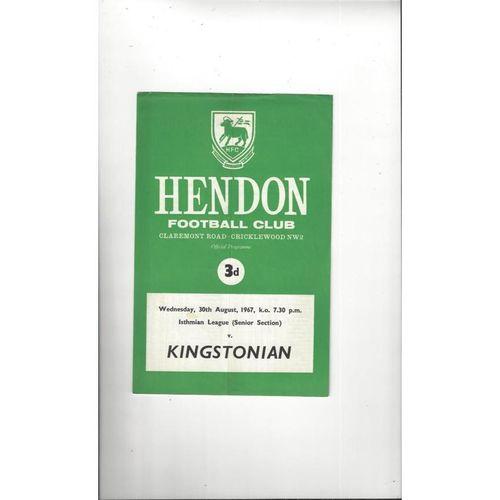 1967/68 Hendon v Kingstonian Football Programme