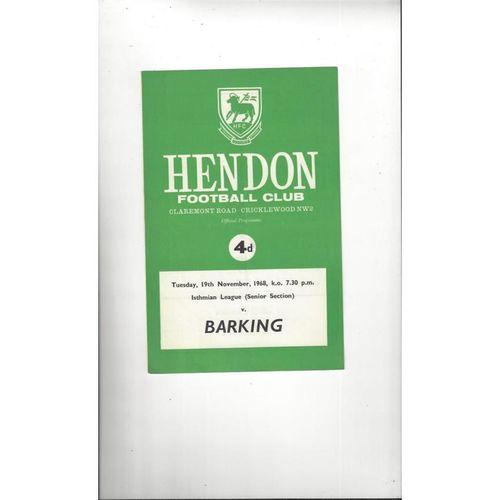 1968/69 Hendon v Barking Football Programme
