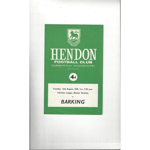 1969/70 Hendon v Barking Football Programme