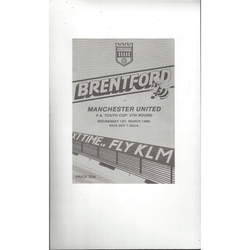 Brentford v Manchester United FA Youth Cup Football Programme 1988/89