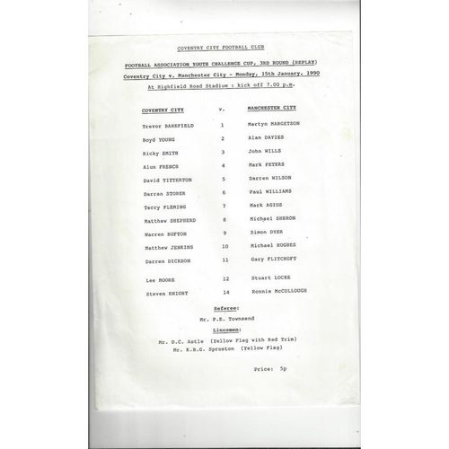 Coventry City v Manchester City FA Youth Cup Replay Football Programme 1989/90