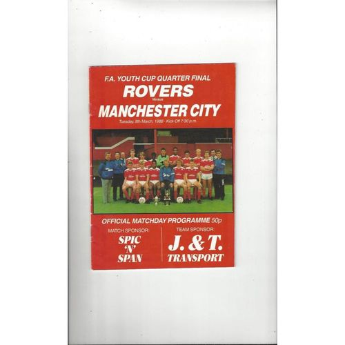 Doncaster Rover v Manchester City FA Youth Cup Football Programme 1987/88