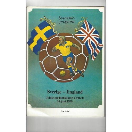 1979 Sweden v England Football Programme