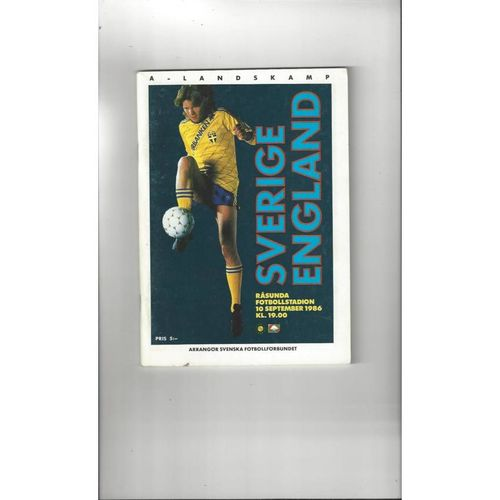 1986 Sweden v England Football Programme